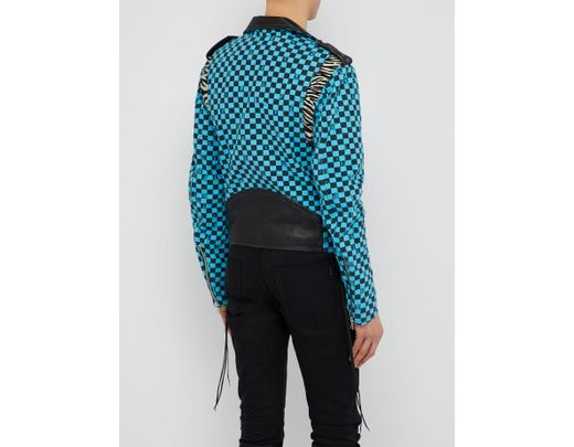 5cf4f4a13 Men's Blue And Black Artist Checkered Biker Jacket