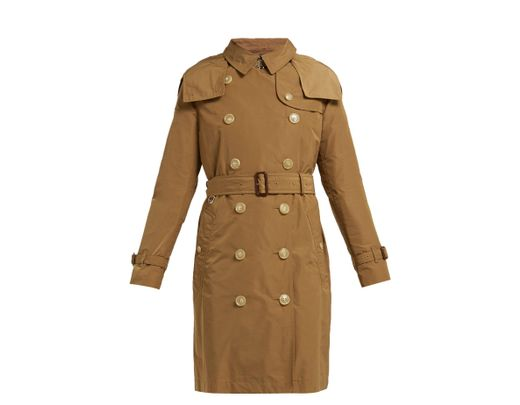 58cc755f9c3 Burberry Kensington Hooded Taffeta Trench Coat in Natural - Lyst