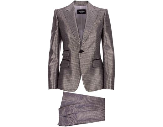 best website dc1ba a2249 Women's Two Pieces Silver Suit With Waisted Blazer And Trousers With Wide  Leg And Central Fold