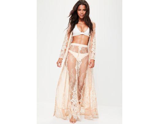 f0d3b56cbeb Lyst - Missguided Premium Nude Eyelash Lace Maxi Kimono in Natural