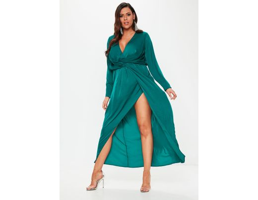 b318f2296edf Missguided Plus Size Teal Wrap Knot Front Maxi Dress in Blue - Lyst