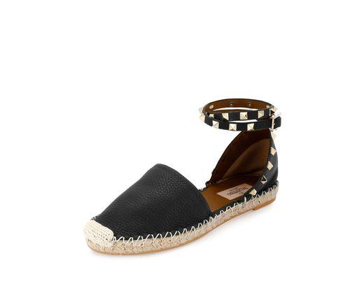 92db0fa7714 Women's Black Garavani Rockstud Double Flat Espadrilles