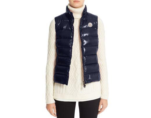003eb0895 Women's Blue Ghany Water Resistant Shiny Nylon Down Puffer Vest