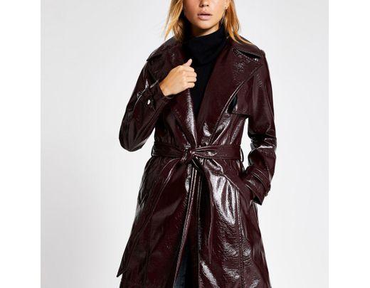 shop official photos top design Women's Dark Purple Vinyl Belted Trench Coat