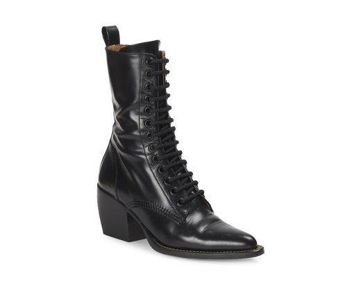 159f0b88 Women's Black Rylee Lace-up Leather Mid-calf Boots