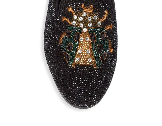 f7a518382a2 Women's Black P-scarab Embellished Smoking Slippers