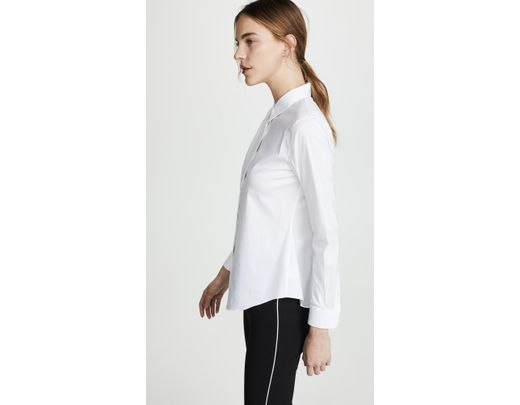 46bf76193d9 Theory Luxe Tenia Button Down Blouse in White - Lyst