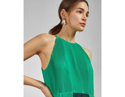 fcb7e5550d8 Ted Baker Dip Hem Pleated Dress in Green - Lyst