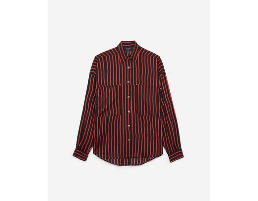 f9916069836 The Kooples Striped Puff - Sleeve Button - Down Shirt in Red - Lyst