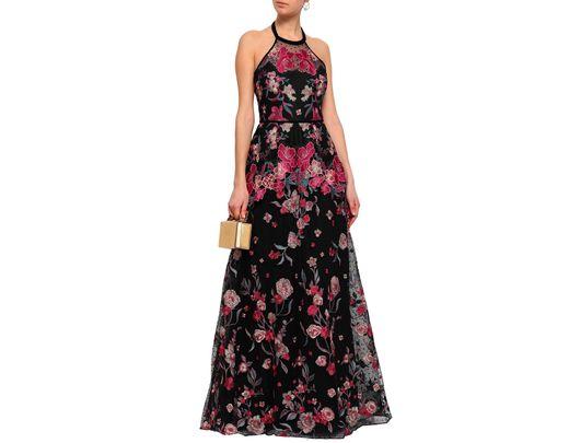 61e8c8aa18d Lyst - Marchesa notte Woman Crocheted Tulle And Scuba Peplum Dress Black in  Black