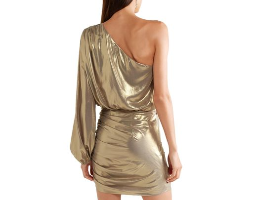 ddc835ea1b52 Michelle Mason One-shoulder Ruched Lamé Mini Dress Gold in Metallic - Save  60% - Lyst