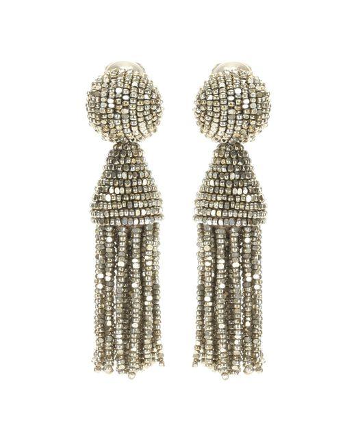 Oscar de la Renta | Metallic Tassel Clip-on Earrings | Lyst