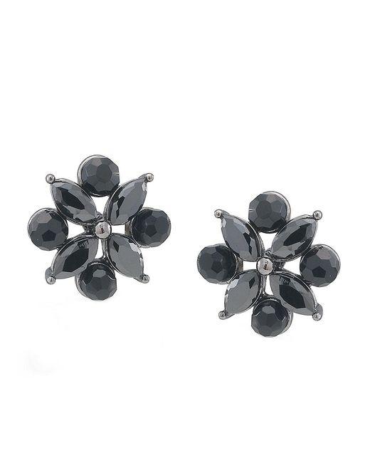 Carolee | Jet Black Crystal Flower Earrings | Lyst