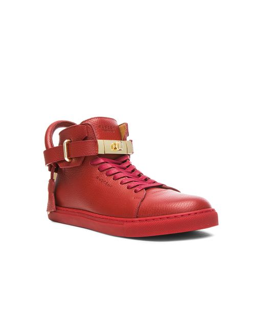 Buscemi | Red High Top Leather Sneakers for Men | Lyst