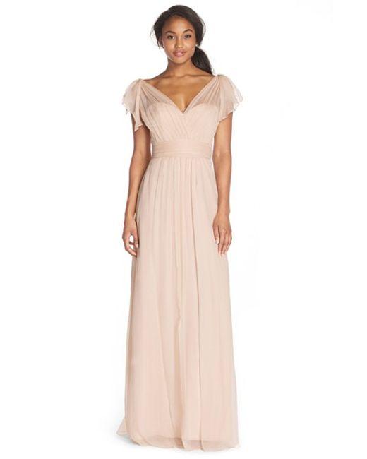 Amsale | Brown Flutter Sleeve Silk Chiffon Gown | Lyst