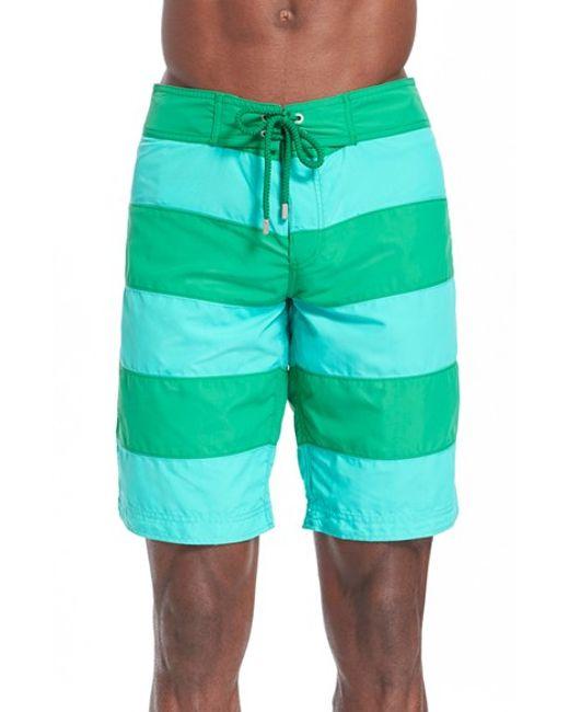 vilebrequin 39 octant 39 stripe board shorts in green for men chlorophyll green lyst. Black Bedroom Furniture Sets. Home Design Ideas