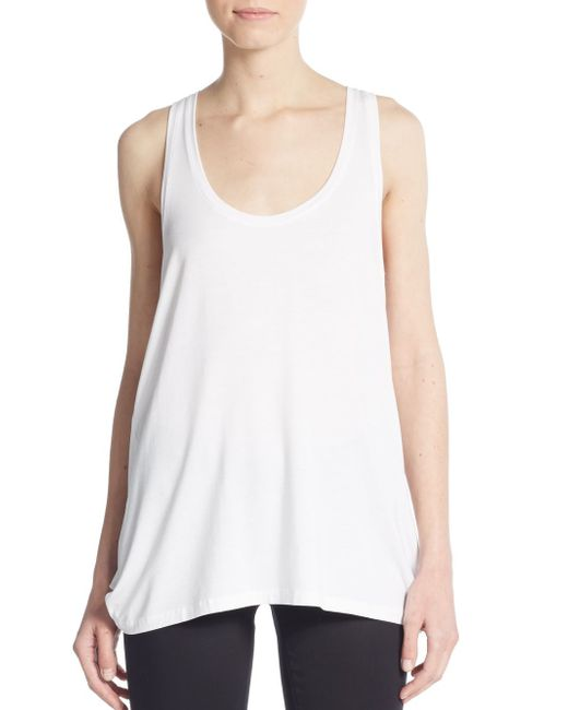 Vince Draped Tank Top In White
