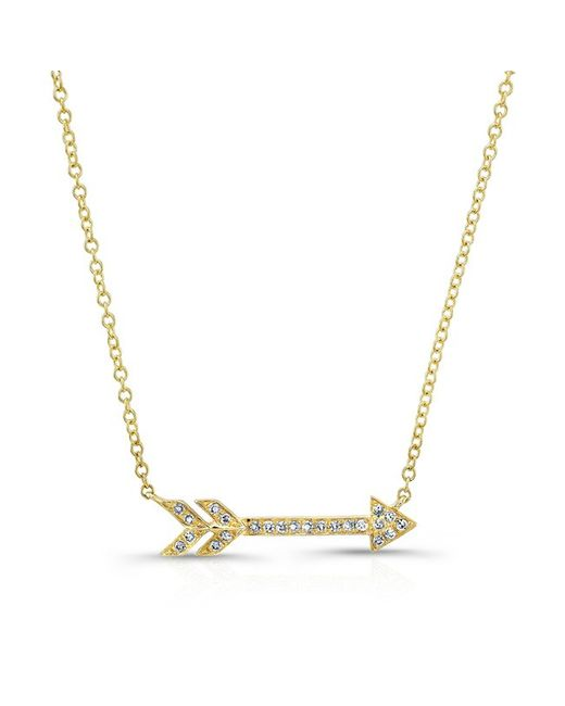 Anne Sisteron - Metallic 14kt Yellow Gold Diamond Arrow Necklace - Lyst