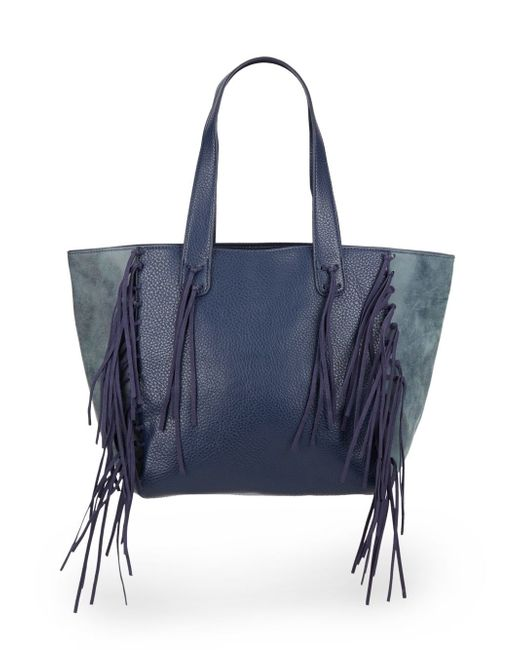 Urban Originals | Blue Piper Fringe Faux Leather Tote Bag | Lyst