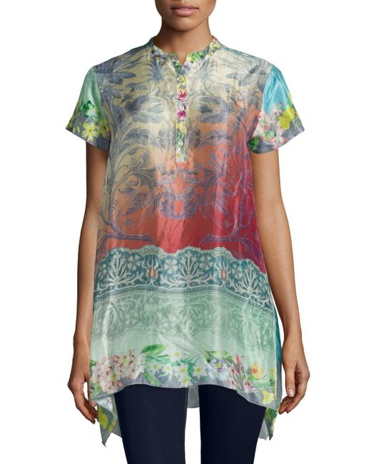 Johnny Was Nellis Short Sleeve Printed Silk Tunic In