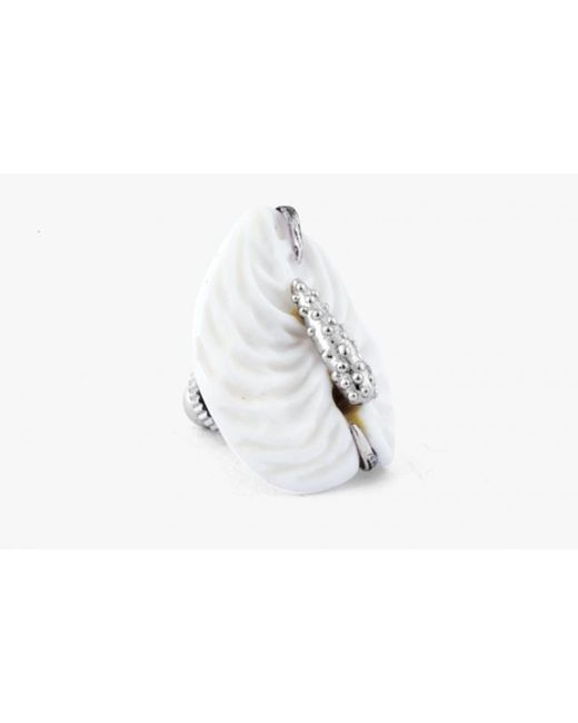 Tateossian | Carved Anthurium Pin In Silver With White Agate for Men | Lyst
