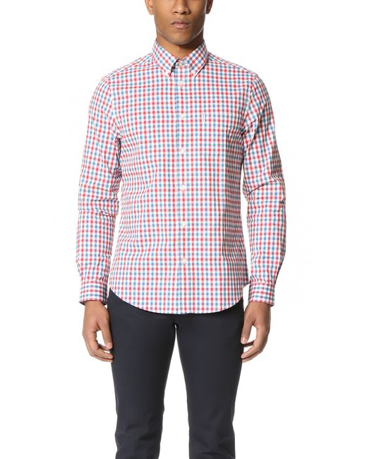 Ben Sherman Check Button Down Shirt In Pink For Men Coral