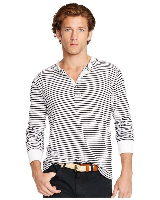 Striped Henley. very soft and form fitting henley J. Crew perfect shirt in black and cream print with fan placket detail at front. Button closure. Great condition! It is white and gray striped with a chest pocket. Size medium, % linen. Normal wear, lig $ M / 8.