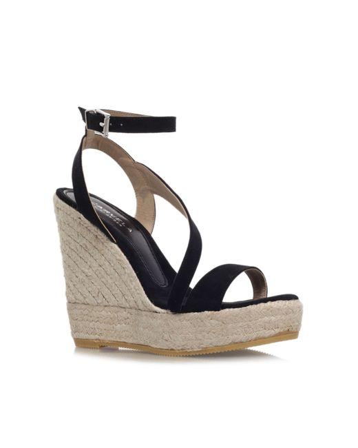 Carvela Kurt Geiger   Black Klassy High Wedge Heel Strappy Sandals   Lyst