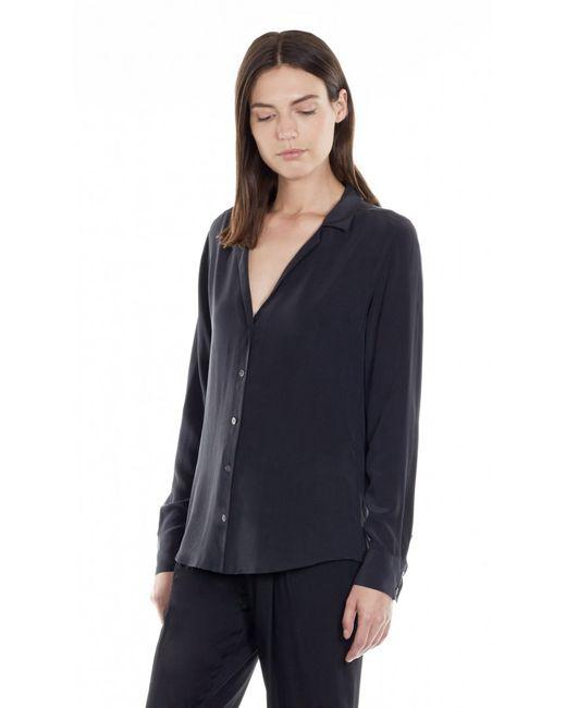 Equipment long sleeve adalyn silk shirt in black true for Equipment black silk shirt