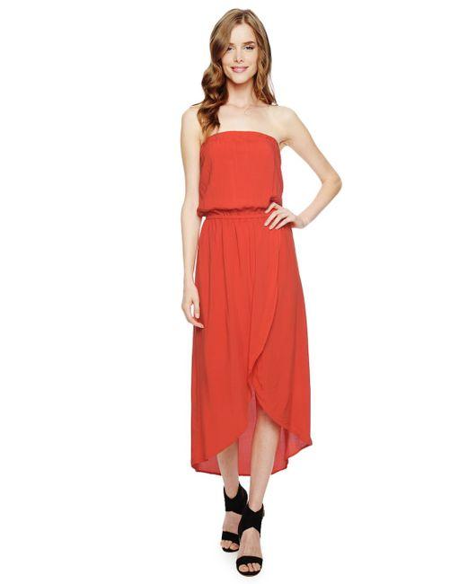 Splendid | Red Strapless Tulip Dress | Lyst