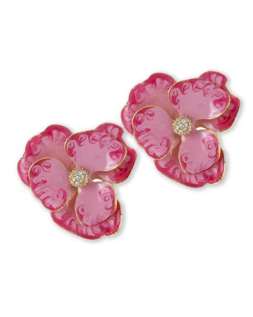 Kenneth Jay Lane | Pink Flower Clip Earring | Lyst
