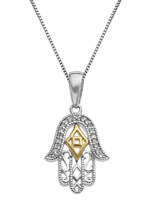 Lord & Taylor | Metallic Sterling Silver And 14kt Yellow Gold Pendant Necklace With Diamonds | Lyst