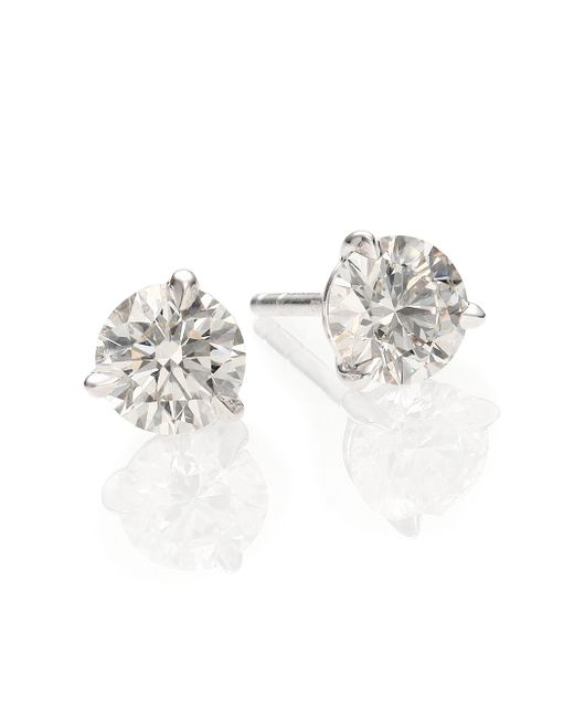 Kwiat | White Diamond & Platinum Stud Earrings/1.25 Tcw | Lyst