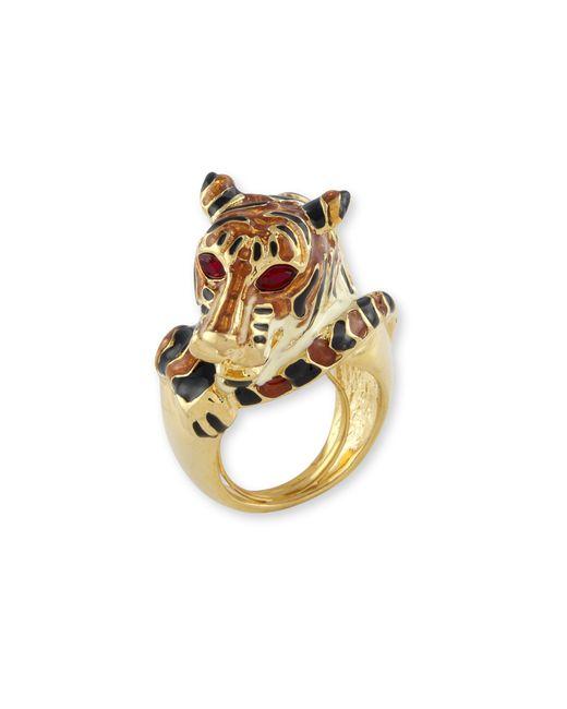 Kenneth Jay Lane | Metallic Black And Tan Tiger Ring | Lyst
