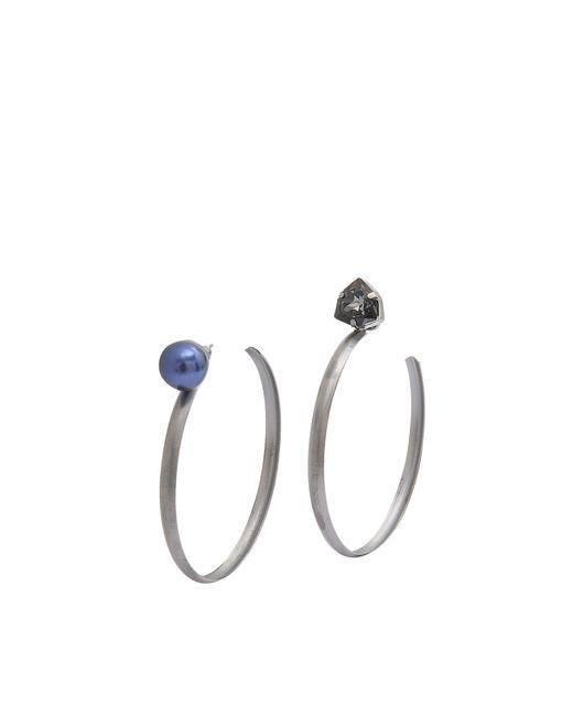 Helene Zubeldia | Metallic Asymmetric Crystal Pearl Earrings | Lyst