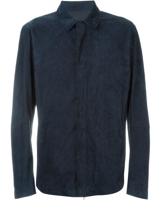 Emporio Armani | Black Zip Front Lambskin Jacket for Men | Lyst