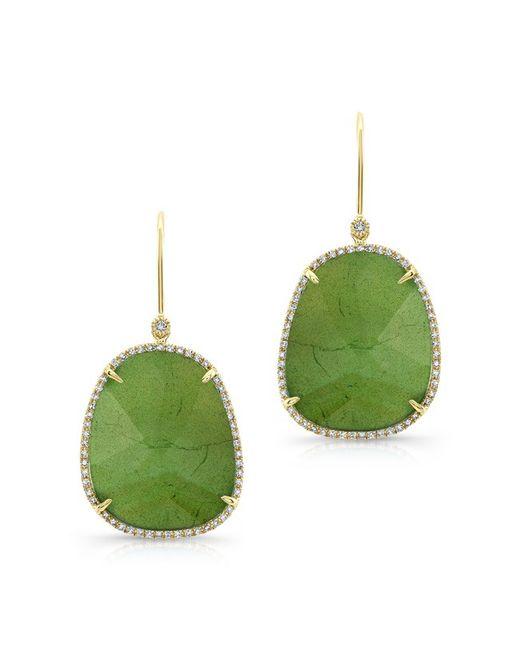 Anne Sisteron | Metallic 14kt Yellow Gold Green Tourmaline Diamond Earrings | Lyst