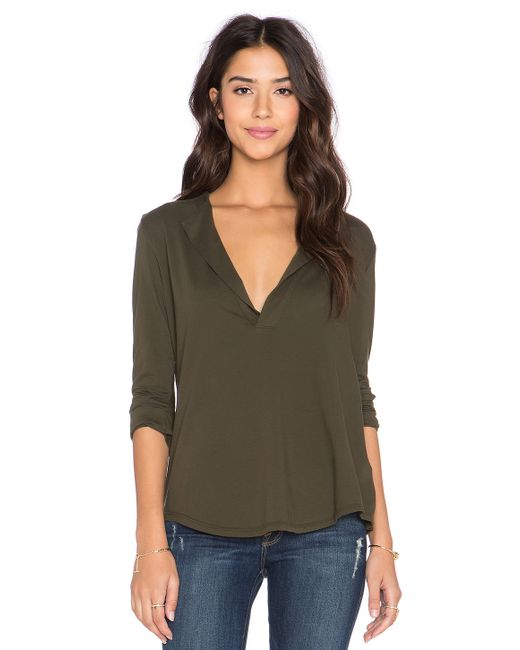 James Perse Open Henley Top In Green Cypress Lyst