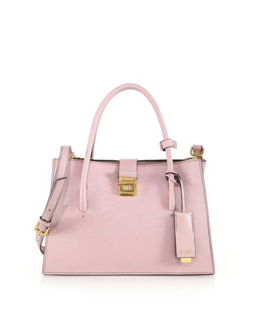 Miu Miu | Pink Madras Small Leather Satchel | Lyst