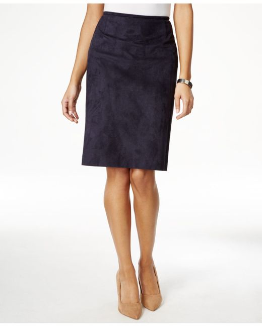 tahari faux suede skirt in blue save 26 lyst