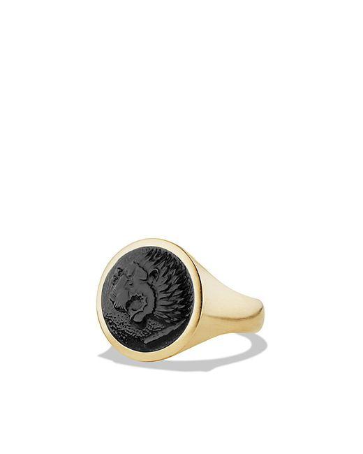 David Yurman | Petrvs Lion Signet Ring With Black Onyx In 18k Gold for Men | Lyst