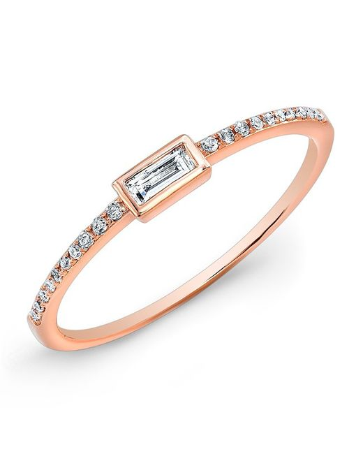 Anne Sisteron - Metallic 14kt Rose Gold Diamond Baguette Pinkie Ring - Lyst