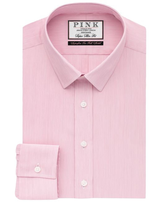 Thomas Pink Herland Stripe Super Slim Shirt In Pink For