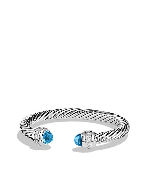 David Yurman | Cable Classics Bracelet With Blue Topaz And Diamonds, 7mm | Lyst
