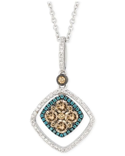 Le Vian | Chocolate And Blue Diamond Pendant Necklace (5/8 Ct. T.w.) In 14k White Gold | Lyst