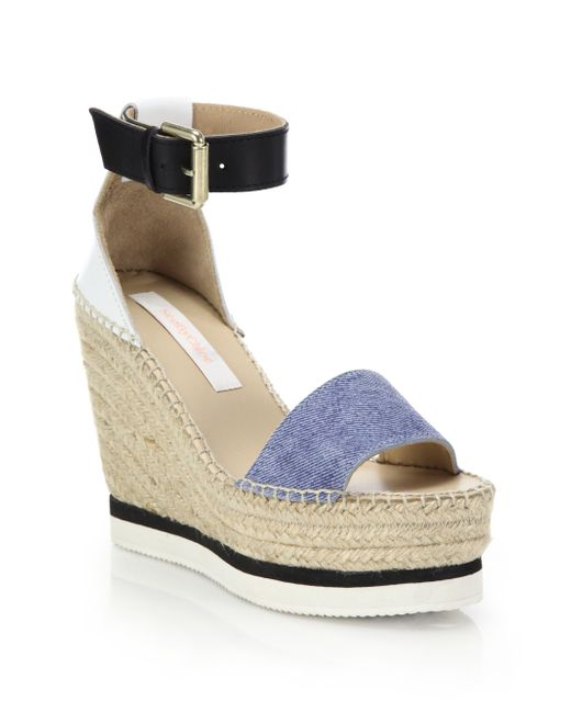 See By Chlo 233 Glyn Chambray Espadrille Wedge Platform