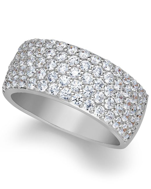 Arabella | Metallic Sterling Silver Ring, Swarovski Zirconia Pave Band | Lyst