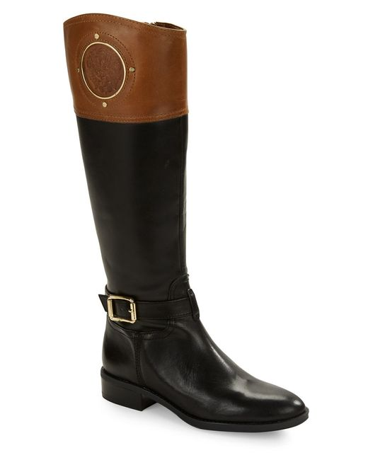 vince camuto phillie contrast leather boots in brown