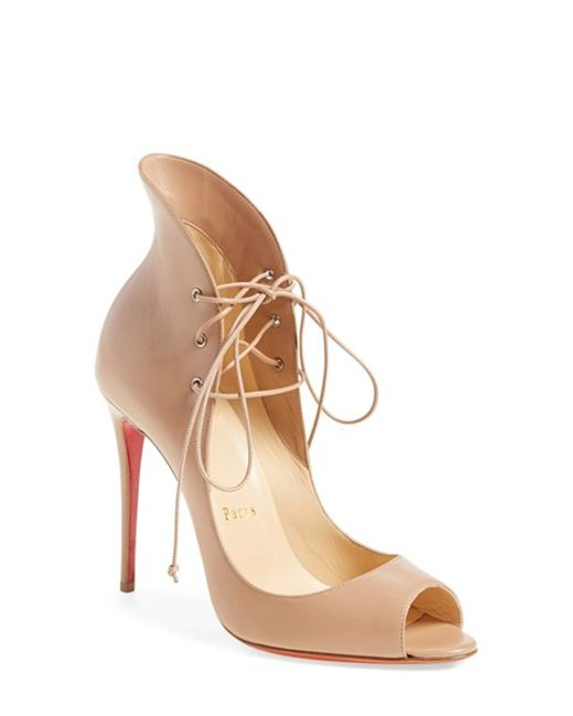 vuitton shoes replica - Christian louboutin Megavamp Lace-Up Leather Pumps in Beige | Lyst