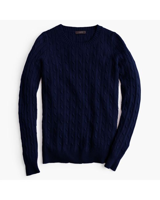 J.Crew | Blue Cambridge Cable Crewneck Sweater | Lyst
